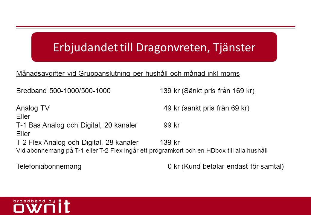 16. Erbjudandet till Dragonvreten, Tjänster Månadsavgifter vid Gruppanslutning per hushåll och månad inkl moms Bredband 500-1000/500-1000139 kr (Sänkt