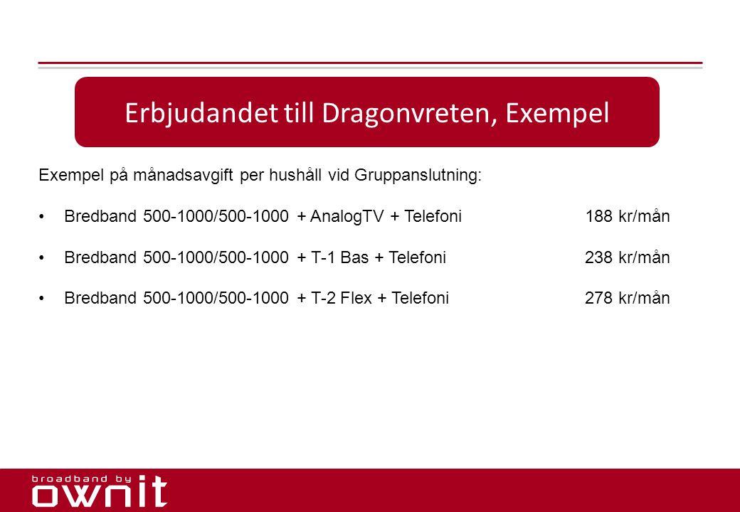 17. Erbjudandet till Dragonvreten, Exempel Exempel på månadsavgift per hushåll vid Gruppanslutning: •Bredband 500-1000/500-1000 + AnalogTV + Telefoni1