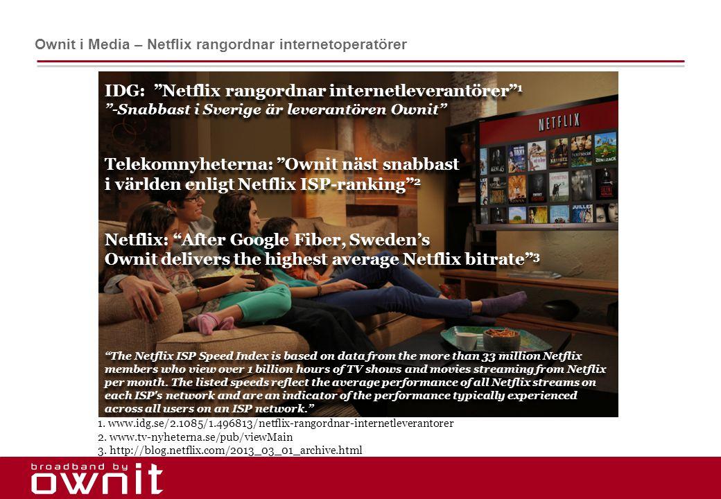"""3. IDG: """"Netflix rangordnar internetleverantörer"""" 1 """"-Snabbast i Sverige är leverantören Ownit"""" Telekomnyheterna: """"Ownit näst snabbast i världen enlig"""