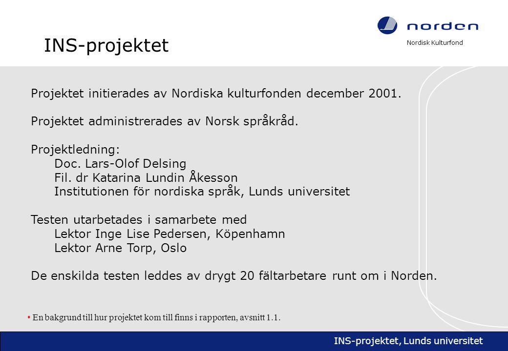 Nordisk Kulturfond INS-projektet, Lunds universitet Projektets omfång • Den äldre undersökningen från 1972 (Maurud 1976) omfattade endast förståelsen av grannspråk bland ungdomar i Skandinavien.