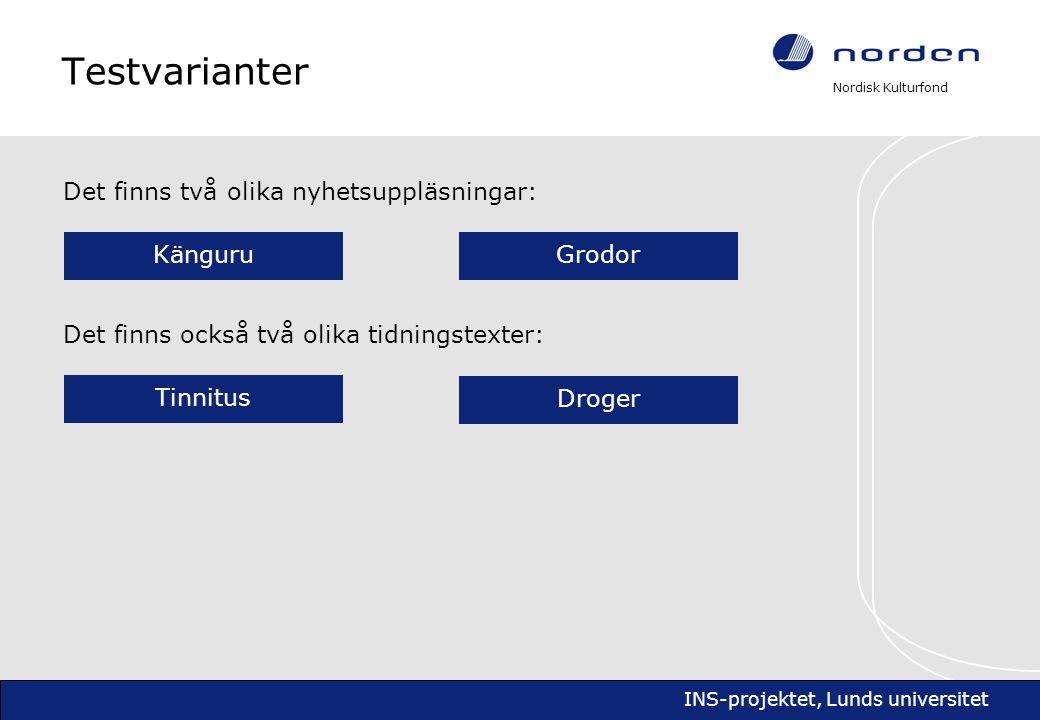 Nordisk Kulturfond INS-projektet, Lunds universitet Testvarianter Det finns två olika nyhetsuppläsningar: KänguruGrodor Det finns också två olika tidningstexter: TinnitusDroger Testserie 1
