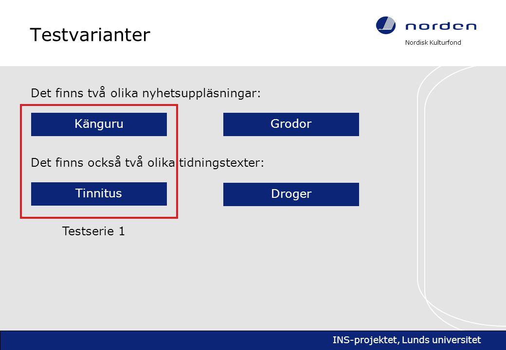 Nordisk Kulturfond INS-projektet, Lunds universitet Åter till frågeställningarna Några korta svar 3.