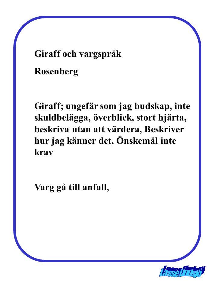 Giraff och vargspråk Rosenberg Giraff; ungefär som jag budskap, inte skuldbelägga, överblick, stort hjärta, beskriva utan att värdera, Beskriver hur j
