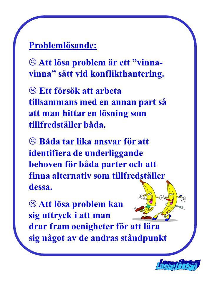 """Problemlösande: L Att lösa problem är ett """"vinna- vinna"""" sätt vid konflikthantering. L Ett försök att arbeta tillsammans med en annan part så att man"""