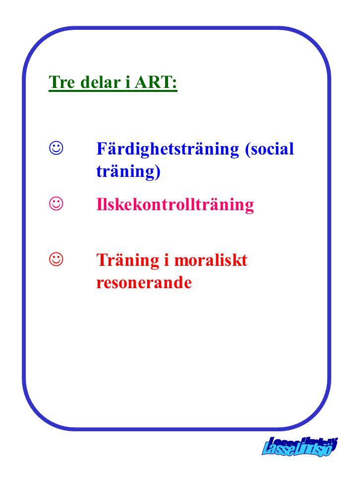 Tre delar i ART:  Färdighetsträning (social träning)  Ilskekontrollträning  Träning i moraliskt resonerande