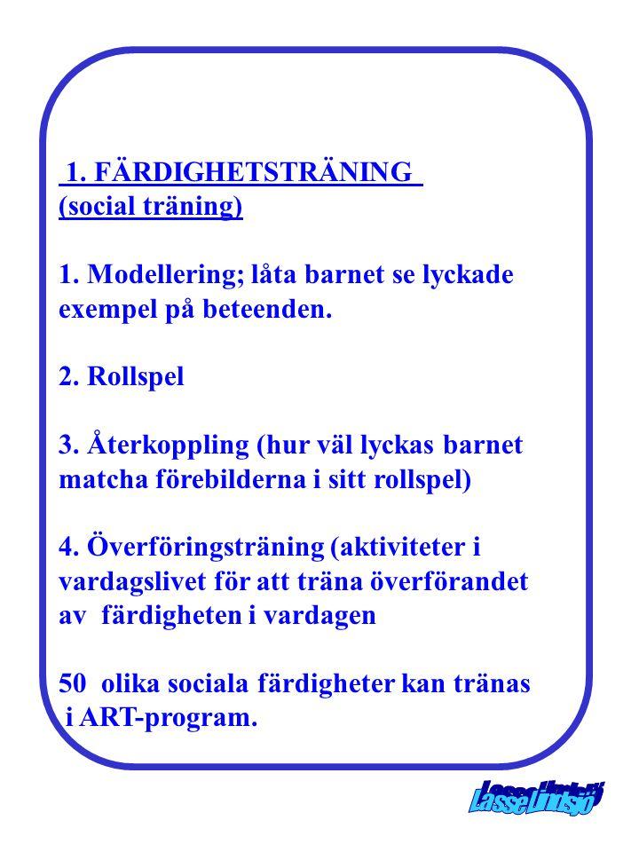 1. FÄRDIGHETSTRÄNING (social träning) 1. Modellering; låta barnet se lyckade exempel på beteenden. 2. Rollspel 3. Återkoppling (hur väl lyckas barnet