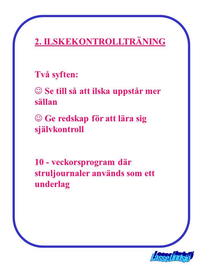 2. ILSKEKONTROLLTRÄNING Två syften:  Se till så att ilska uppstår mer sällan  Ge redskap för att lära sig självkontroll 10 - veckorsprogram där stru