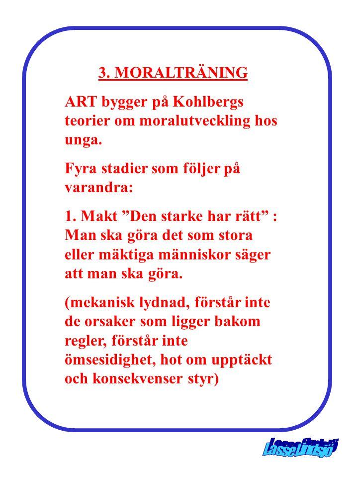 """3. MORALTRÄNING ART bygger på Kohlbergs teorier om moralutveckling hos unga. Fyra stadier som följer på varandra: 1. Makt """"Den starke har rätt"""" : Man"""