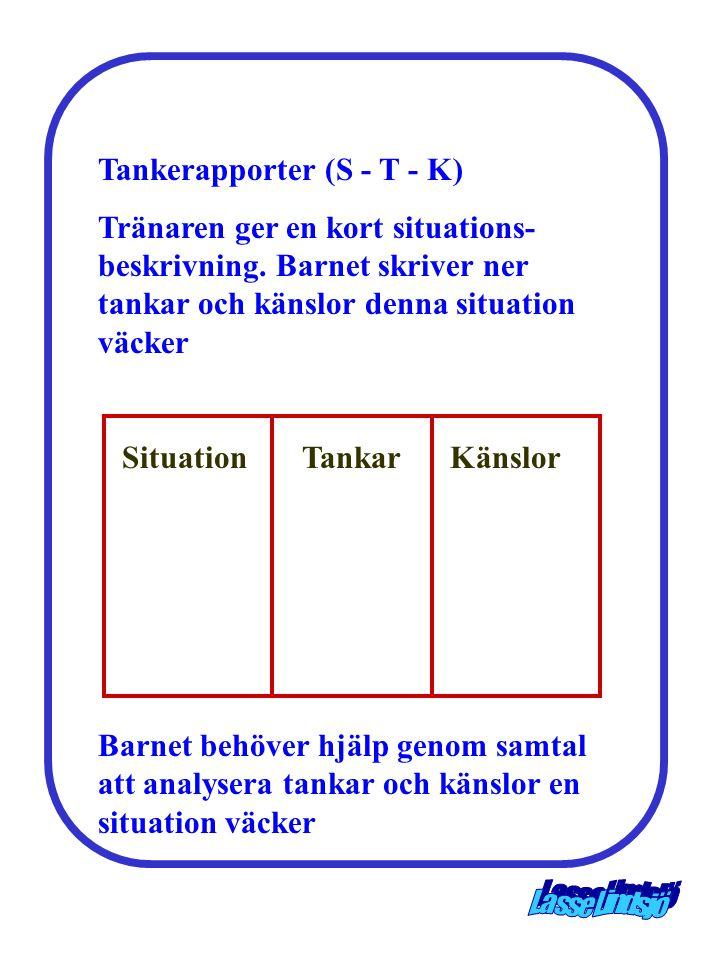 Tankerapporter (S - T - K) Tränaren ger en kort situations- beskrivning. Barnet skriver ner tankar och känslor denna situation väcker Barnet behöver h