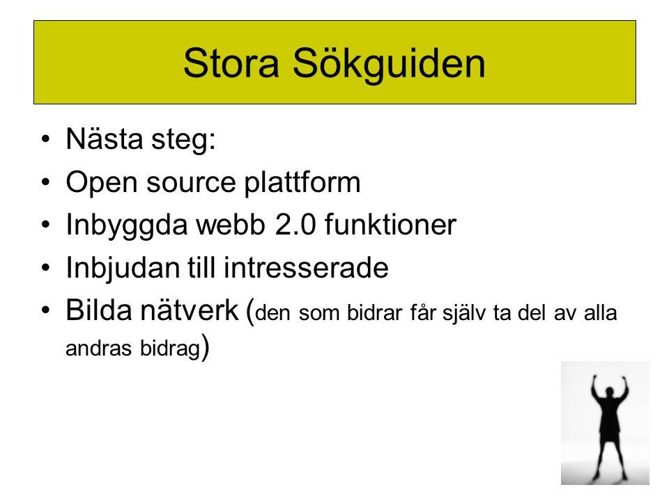 Stora Sökguiden •Nästa steg: •Open source plattform •Inbyggda webb 2.0 funktioner •Inbjudan till intresserade •Bilda nätverk ( den som bidrar får själ