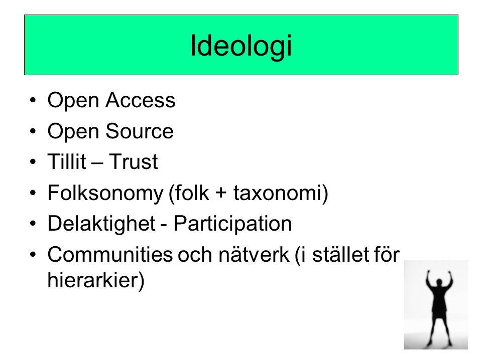 Ideologi •Open Access •Open Source •Tillit – Trust •Folksonomy (folk + taxonomi) •Delaktighet - Participation •Communities och nätverk (i stället för