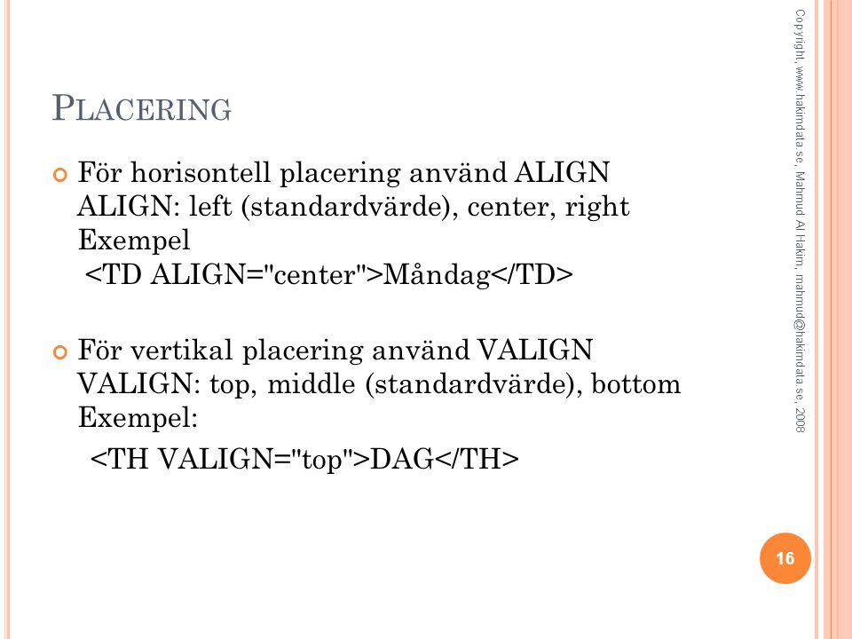P LACERING För horisontell placering använd ALIGN ALIGN: left (standardvärde), center, right Exempel Måndag För vertikal placering använd VALIGN VALIG