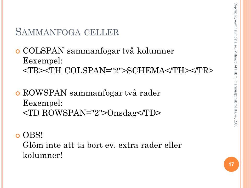 S AMMANFOGA CELLER COLSPAN sammanfogar två kolumner Eexempel: SCHEMA ROWSPAN sammanfogar två rader Eexempel: Onsdag OBS! Glöm inte att ta bort ev. ext