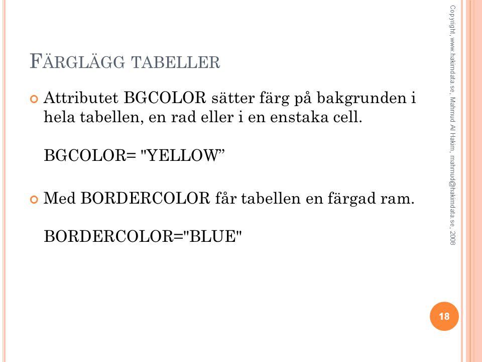 F ÄRGLÄGG TABELLER Attributet BGCOLOR sätter färg på bakgrunden i hela tabellen, en rad eller i en enstaka cell. BGCOLOR=