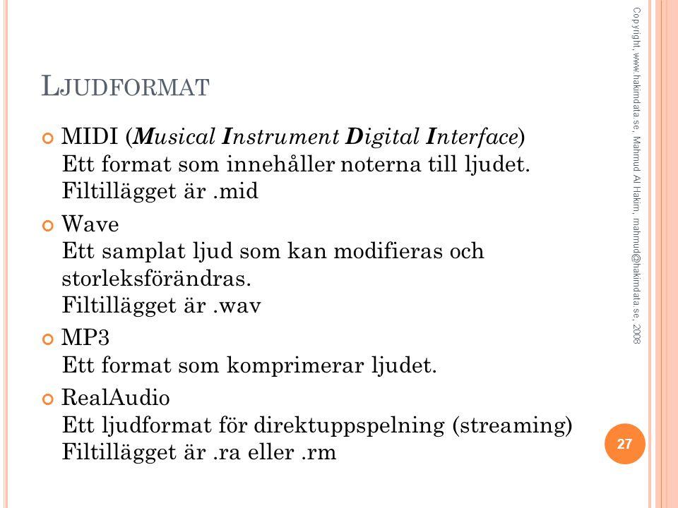 L JUDFORMAT MIDI ( M usical I nstrument D igital I nterface ) Ett format som innehåller noterna till ljudet. Filtillägget är.mid Wave Ett samplat ljud
