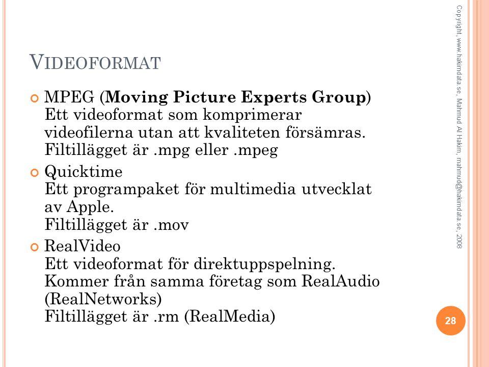 V IDEOFORMAT MPEG ( Moving Picture Experts Group ) Ett videoformat som komprimerar videofilerna utan att kvaliteten försämras. Filtillägget är.mpg ell