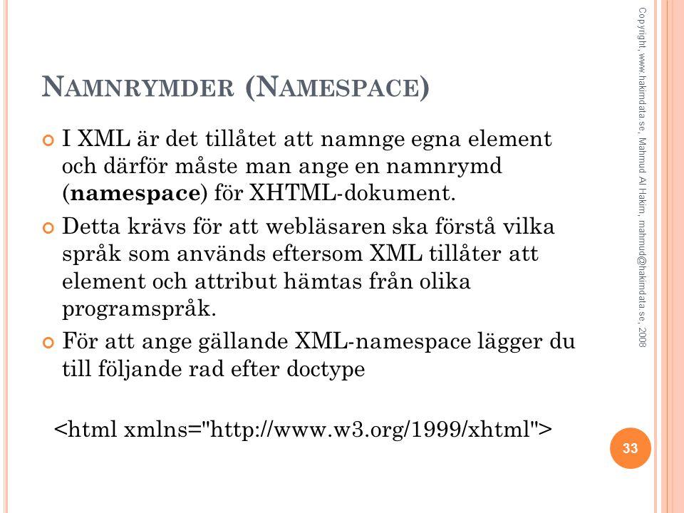 N AMNRYMDER (N AMESPACE ) I XML är det tillåtet att namnge egna element och därför måste man ange en namnrymd ( namespace ) för XHTML-dokument. Detta