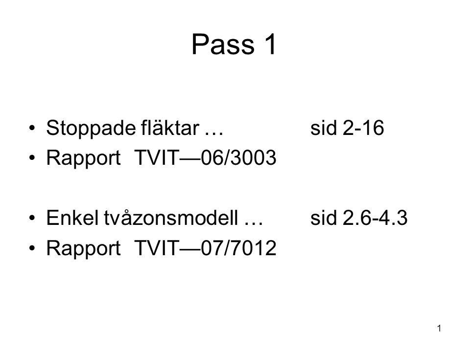 1 Pass 1 •Stoppade fläktar …sid 2-16 •Rapport TVIT—06/3003 •Enkel tvåzonsmodell …sid 2.6-4.3 •Rapport TVIT—07/7012