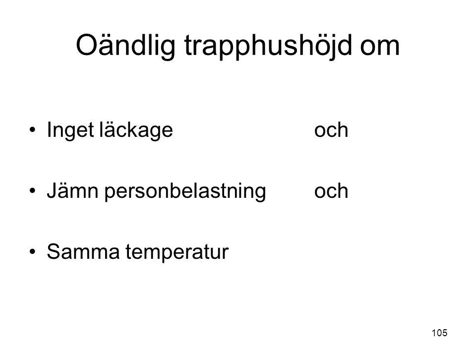 105 Oändlig trapphushöjd om •Inget läckageoch •Jämn personbelastningoch •Samma temperatur
