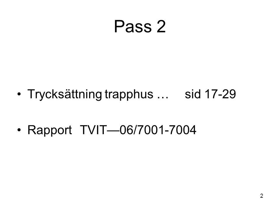 113 Tryckfall trapphus 3 •Modell för våningsplan ∆p / n = e n ρv 2 /2Pa • mät ∆p och v för n våningsplan och bestäm e n • oberoende av våningshöjd och trapphusstorlek • flödet = trapplöpstvärsnitt (b×h) × dito hastighet v •Modell för m trapphus ∆p = Rq 2 Pa/m R = e n ρ / 2 b 2 h 3 Pa/m(m 3 /s) 2
