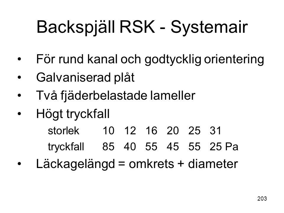203 Backspjäll RSK - Systemair •För rund kanal och godtycklig orientering •Galvaniserad plåt •Två fjäderbelastade lameller •Högt tryckfall storlek10 1