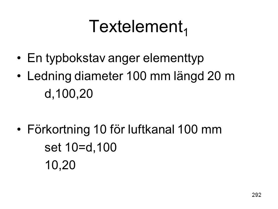 292 Textelement 1 •En typbokstav anger elementtyp •Ledning diameter 100 mm längd 20 m d,100,20 •Förkortning 10 för luftkanal 100 mm set 10=d,100 10,20