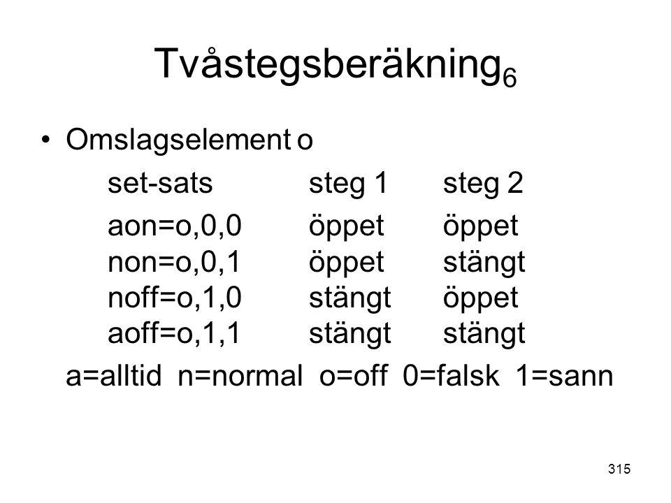 315 Tvåstegsberäkning 6 •Omslagselement o set-satssteg 1steg 2 aon=o,0,0öppetöppet non=o,0,1öppetstängt noff=o,1,0stängtöppet aoff=o,1,1stängtstängt a