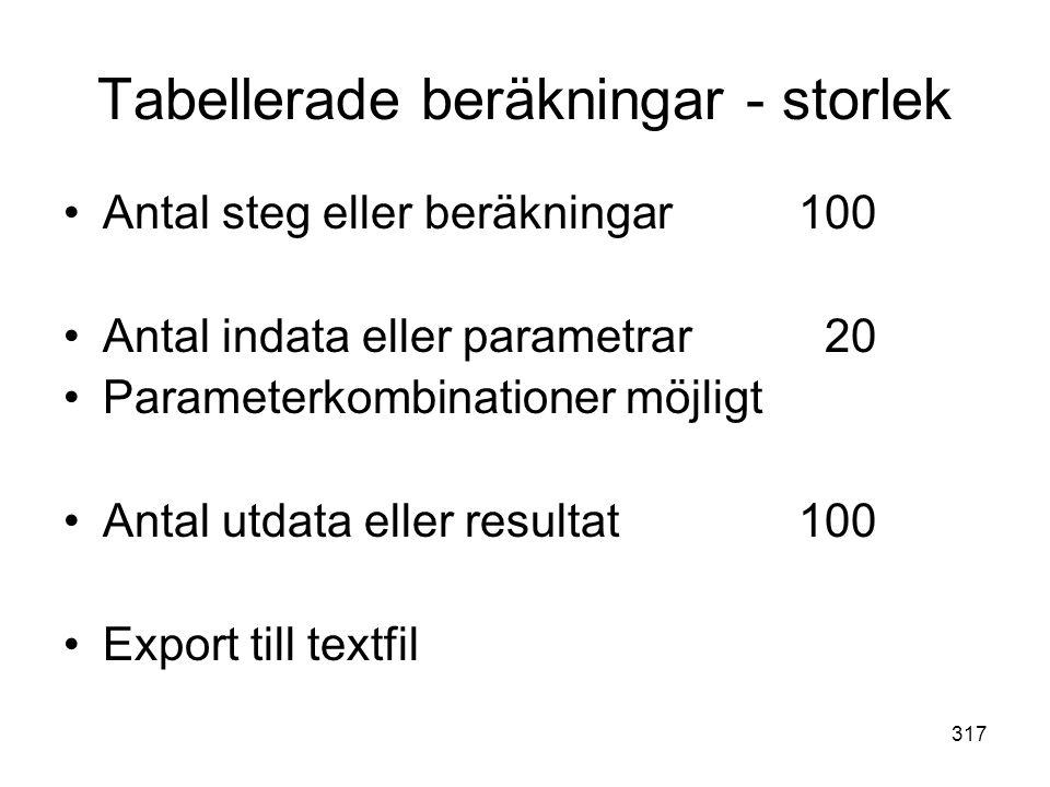 317 Tabellerade beräkningar - storlek •Antal steg eller beräkningar100 •Antal indata eller parametrar 20 •Parameterkombinationer möjligt •Antal utdata