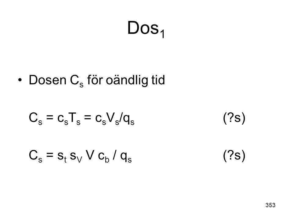 353 Dos 1 •Dosen C s för oändlig tid C s = c s T s = c s V s /q s (?s) C s = s t s V V c b / q s (?s)