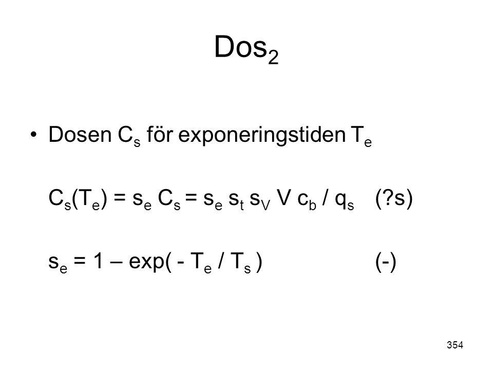354 Dos 2 •Dosen C s för exponeringstiden T e C s (T e ) = s e C s = s e s t s V V c b / q s (?s) s e = 1 – exp( - T e / T s ) (-)
