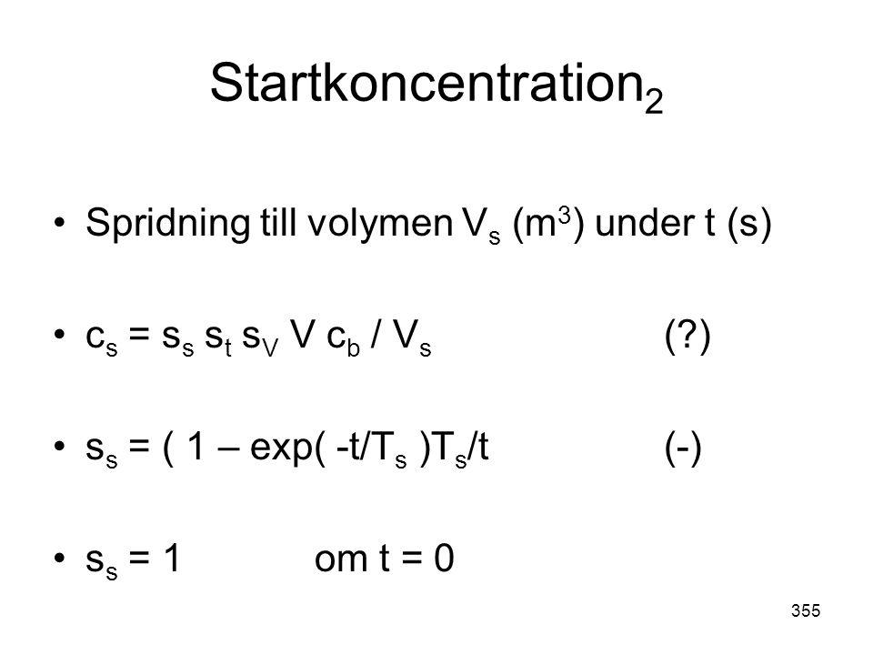 355 Startkoncentration 2 •Spridning till volymen V s (m 3 ) under t (s) •c s = s s s t s V V c b / V s (?) •s s = ( 1 – exp( -t/T s )T s /t(-) •s s =