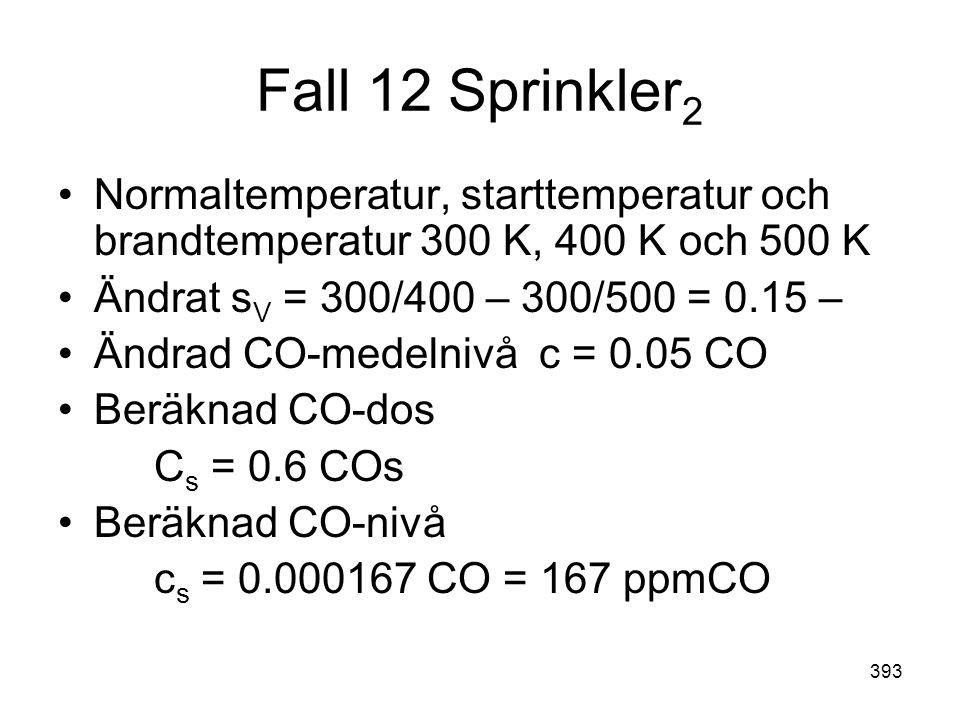 393 Fall 12 Sprinkler 2 •Normaltemperatur, starttemperatur och brandtemperatur 300 K, 400 K och 500 K •Ändrat s V = 300/400 – 300/500 = 0.15 – •Ändrad