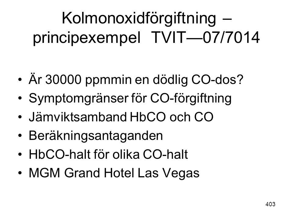 403 Kolmonoxidförgiftning – principexempel TVIT—07/7014 •Är 30000 ppmmin en dödlig CO-dos? •Symptomgränser för CO-förgiftning •Jämviktsamband HbCO och