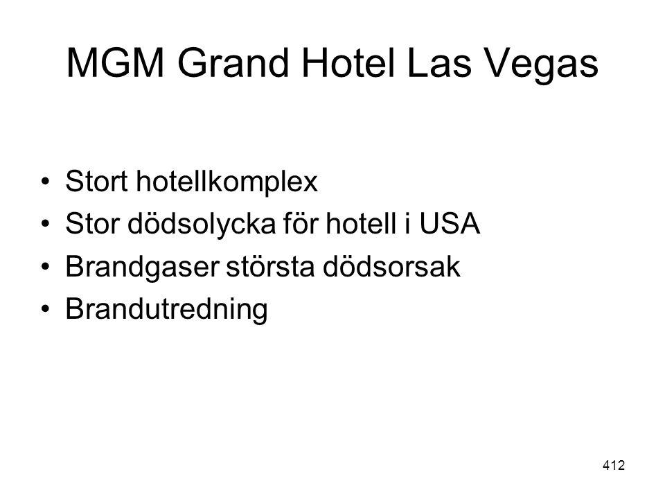 412 MGM Grand Hotel Las Vegas •Stort hotellkomplex •Stor dödsolycka för hotell i USA •Brandgaser största dödsorsak •Brandutredning
