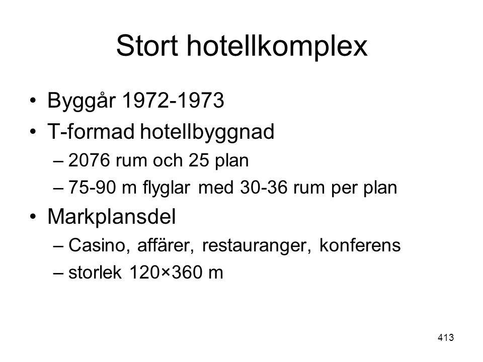 413 Stort hotellkomplex •Byggår 1972-1973 •T-formad hotellbyggnad –2076 rum och 25 plan –75-90 m flyglar med 30-36 rum per plan •Markplansdel –Casino,
