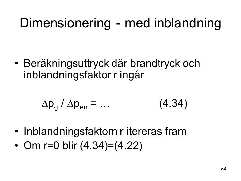 54 Dimensionering - med inblandning •Beräkningsuttryck där brandtryck och inblandningsfaktor r ingår  p g /  p en = …(4.34) •Inblandningsfaktorn r i