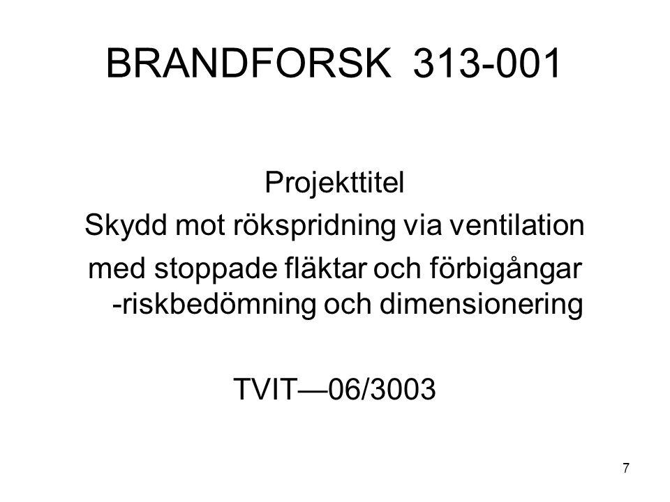 7 BRANDFORSK 313-001 Projekttitel Skydd mot rökspridning via ventilation med stoppade fläktar och förbigångar -riskbedömning och dimensionering TVIT—0