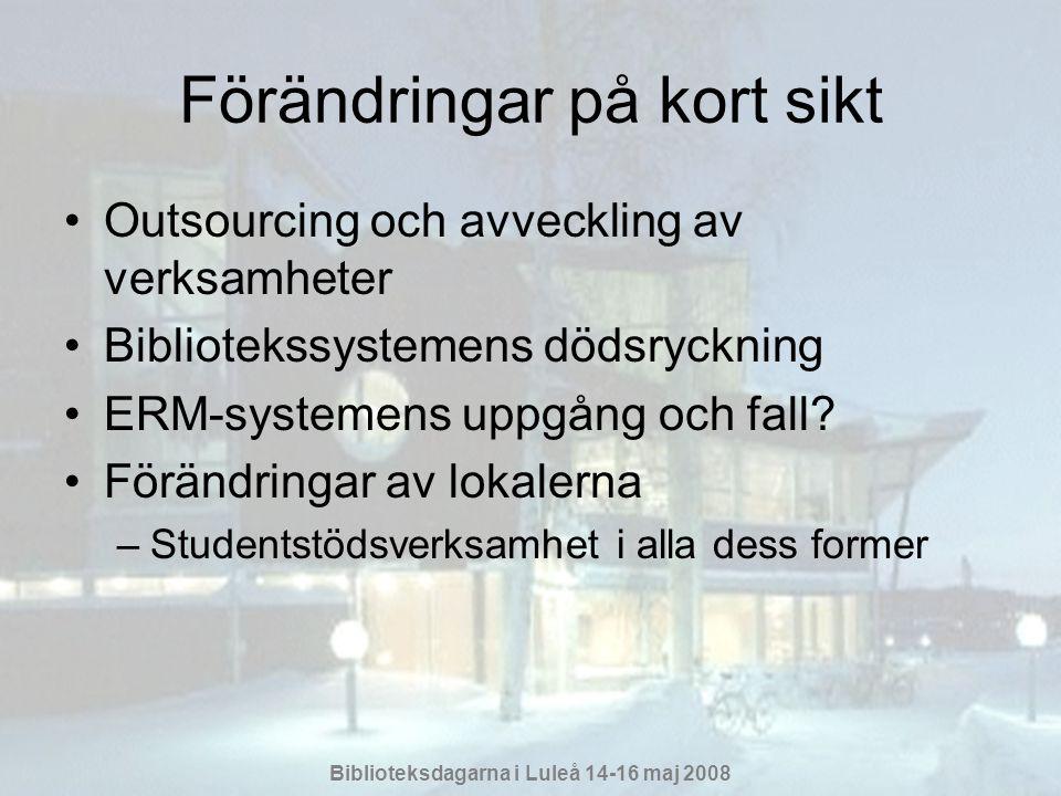 Biblioteksdagarna i Luleå 14-16 maj 2008 Förändringar på kort sikt •Outsourcing och avveckling av verksamheter •Bibliotekssystemens dödsryckning •ERM-systemens uppgång och fall.