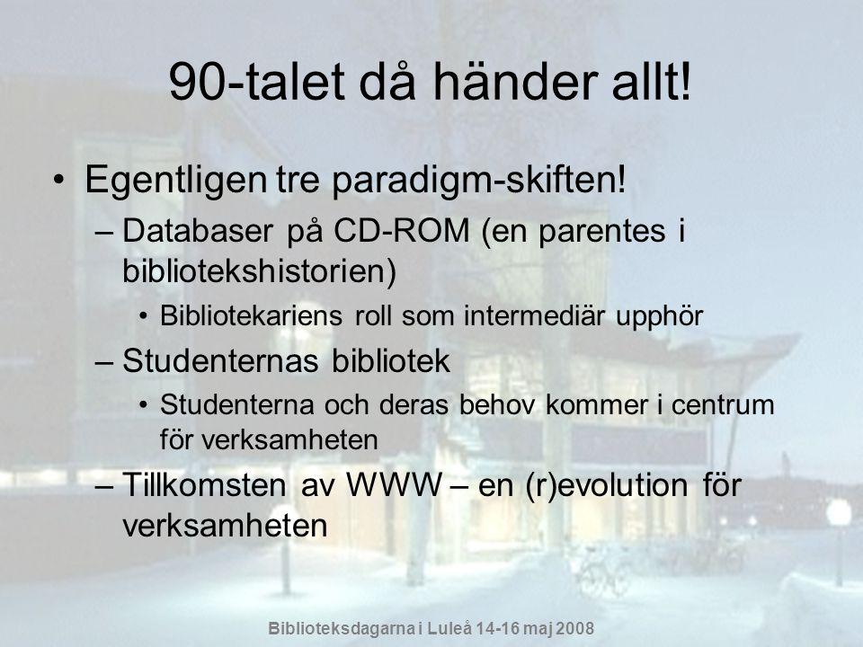 Biblioteksdagarna i Luleå 14-16 maj 2008 WWW-revolutionen •Hybridbiblioteket kommer till –Forskare och studenter får tillgång till resurser oberoende av tid och rum –Den fysiska samlingen blir bara en liten del av den tillgängliga informationen –Tidskrifter och rapporter i pappersform försvinner från biblioteket