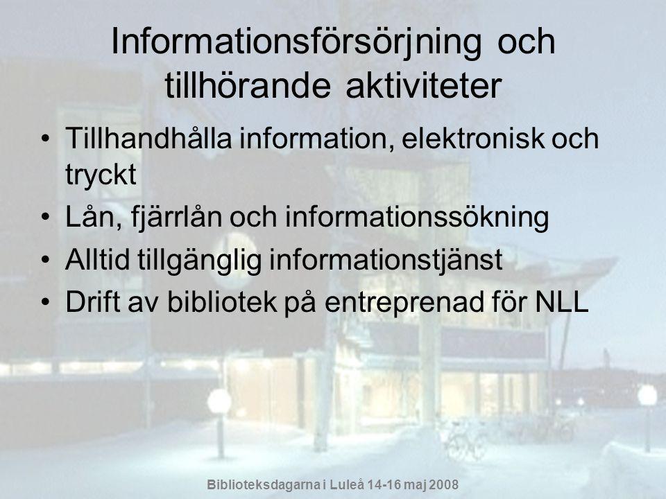 Biblioteksdagarna i Luleå 14-16 maj 2008 Informationsförsörjning och tillhörande aktiviteter •Tillhandhålla information, elektronisk och tryckt •Lån, fjärrlån och informationssökning •Alltid tillgänglig informationstjänst •Drift av bibliotek på entreprenad för NLL