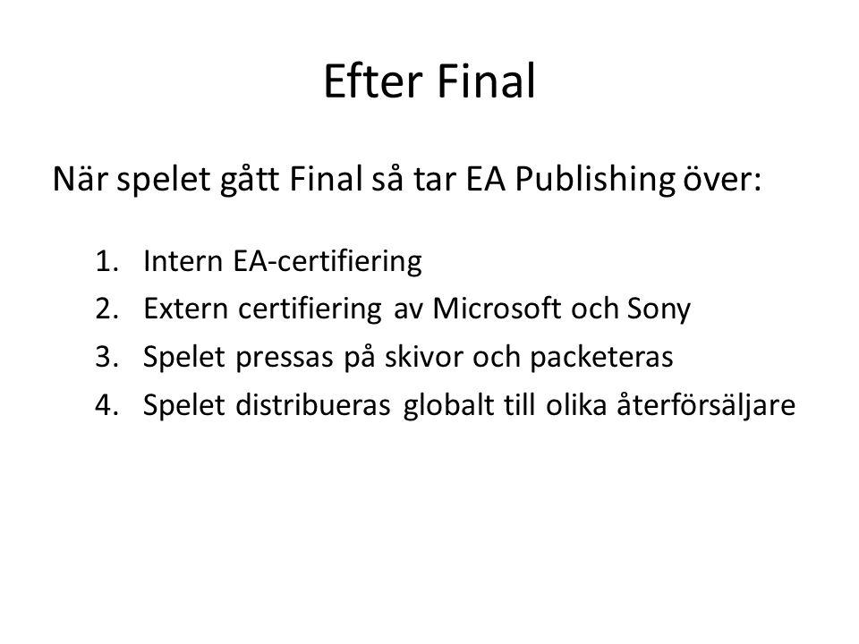 Efter Final När spelet gått Final så tar EA Publishing över: 1.Intern EA-certifiering 2.Extern certifiering av Microsoft och Sony 3.Spelet pressas på skivor och packeteras 4.Spelet distribueras globalt till olika återförsäljare