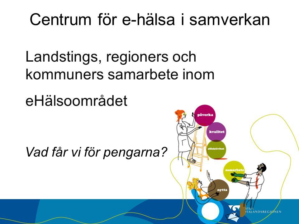 Landstings, regioners och kommuners samarbete inom eHälsoområdet Vad får vi för pengarna? Centrum för e-hälsa i samverkan