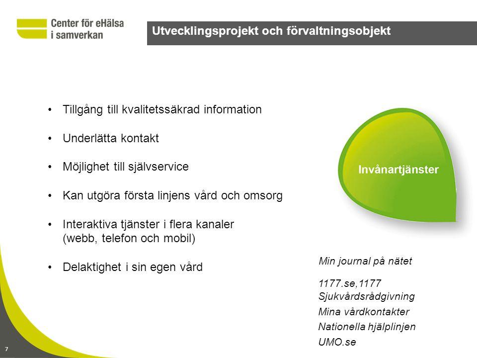 8 Utvecklingsprojekt och förvaltningsobjekt Identifieringstjänst SITHS Katalogtjänst HSA Kundservice Kommunikationsnät Sjunet Nationell test Säkerhetstjänster Tjänsteplattform Video/distansmötestjänst •Möjliggör samverkan mellan kommuner, landsting och privata vårdgivare •Överföring av information sker enhetligt, säkert och kostnadseffektivt