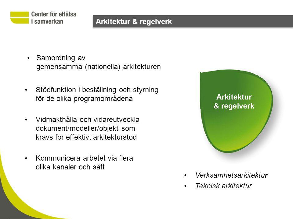 •Samordning av gemensamma (nationella) arkitekturen •Stödfunktion i beställning och styrning för de olika programområdena •Vidmakthålla och vidareutve