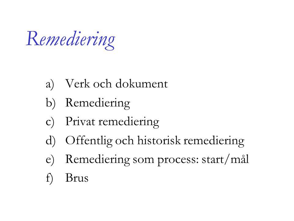 Remediering a)Verk och dokument b)Remediering c)Privat remediering d)Offentlig och historisk remediering e)Remediering som process: start/mål f)Brus