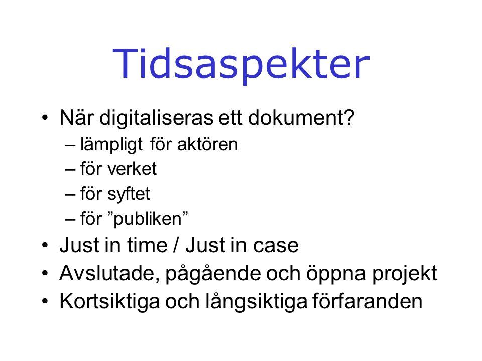 """Tidsaspekter •När digitaliseras ett dokument? –lämpligt för aktören –för verket –för syftet –för """"publiken"""" •Just in time / Just in case •Avslutade, p"""