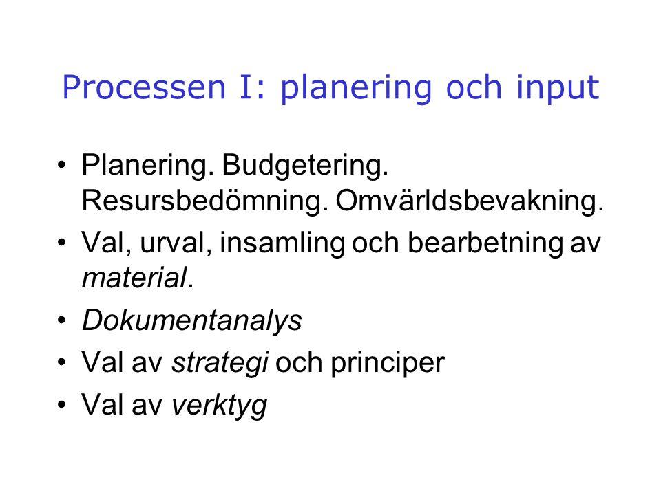 Processen I: planering och input •Planering. Budgetering. Resursbedömning. Omvärldsbevakning. •Val, urval, insamling och bearbetning av material. •Dok