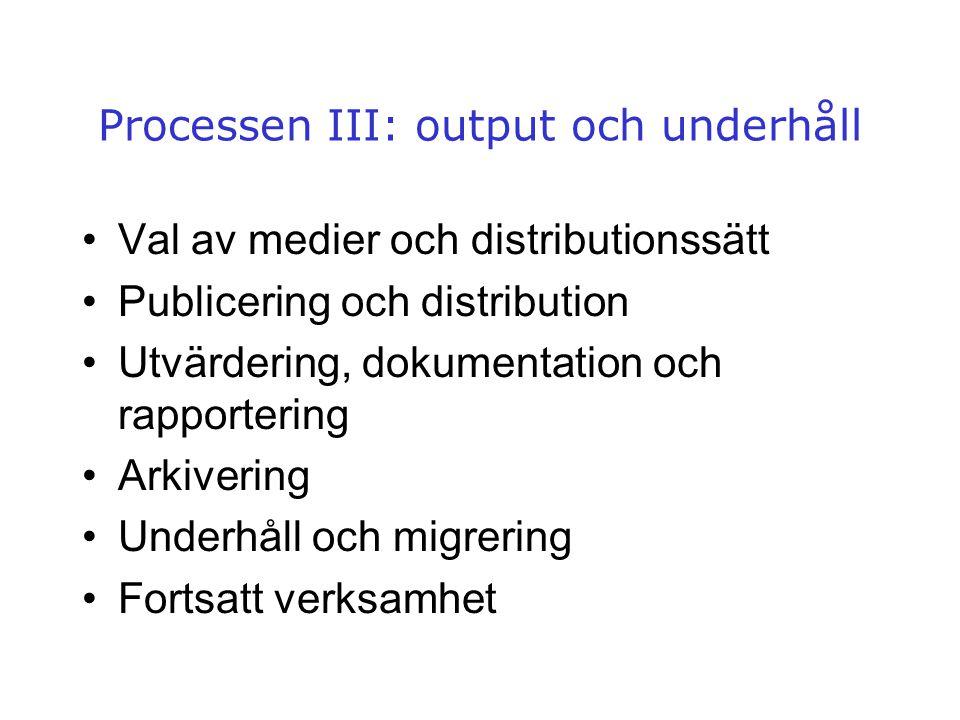Processen III: output och underhåll •Val av medier och distributionssätt •Publicering och distribution •Utvärdering, dokumentation och rapportering •A