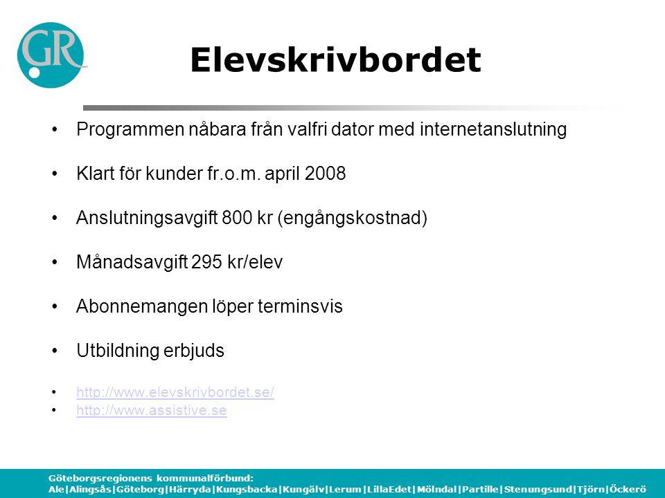 Göteborgsregionens kommunalförbund: Ale|Alingsås|Göteborg|Härryda|Kungsbacka|Kungälv|Lerum|LillaEdet|Mölndal|Partille|Stenungsund|Tjörn|Öckerö Elevskr