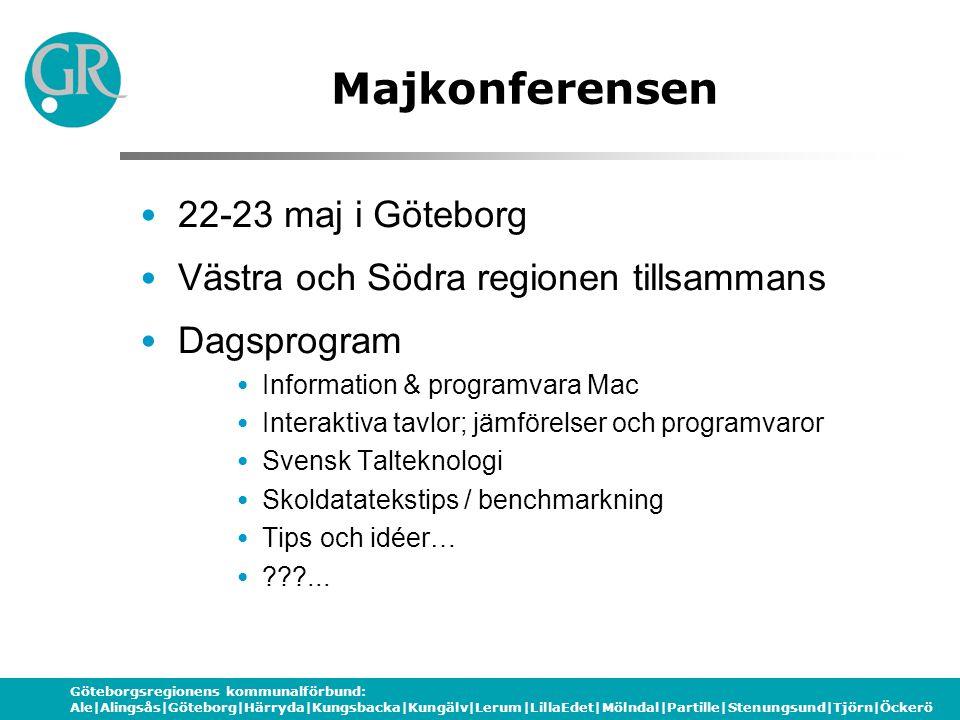 Göteborgsregionens kommunalförbund: Ale|Alingsås|Göteborg|Härryda|Kungsbacka|Kungälv|Lerum|LillaEdet|Mölndal|Partille|Stenungsund|Tjörn|Öckerö Majkonf